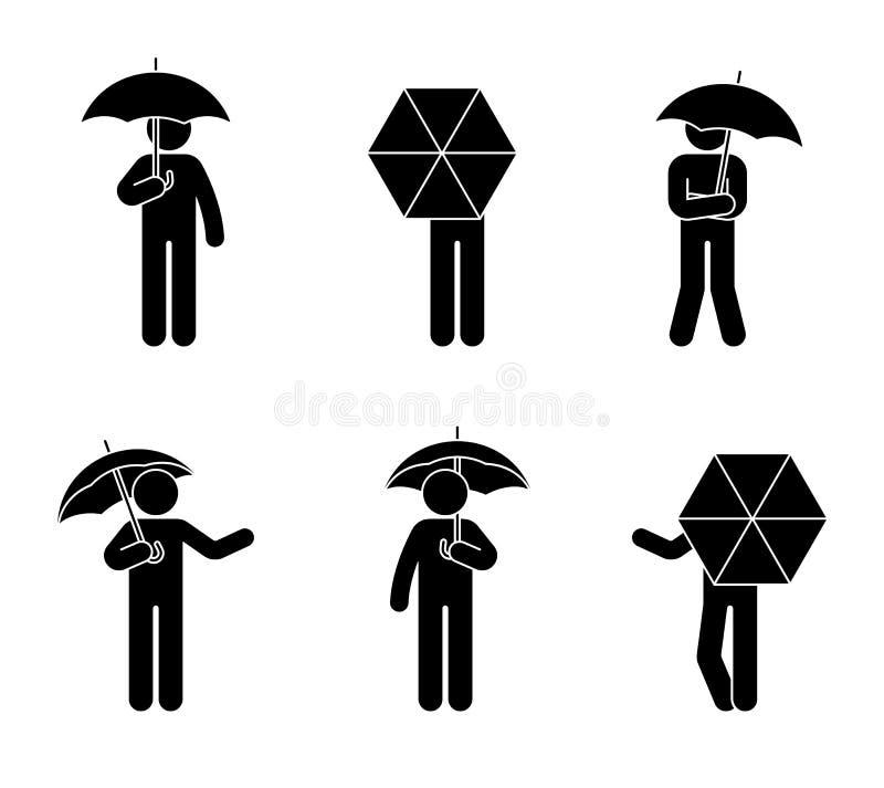De mens van het stokcijfer met de geopende reeks van het paraplupictogram De mensen onder de regen in verschillend stellen vector illustratie
