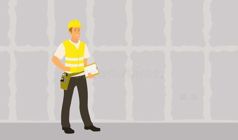 De mens van de huisinspecteur beëindigde kaderwoningbouw controle en het schrijven voorwaardenrapport stock illustratie