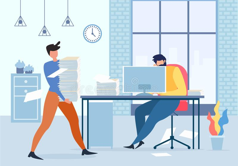 De Mens van managerholding paper stack bij Computerlijst royalty-vrije illustratie