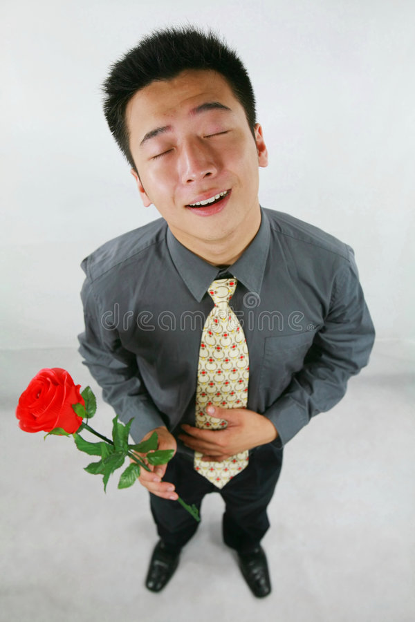 De mens van Romantical stock foto's