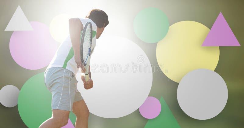 De mens van de tennisspeler met lege infographic grafiekpanelen royalty-vrije illustratie