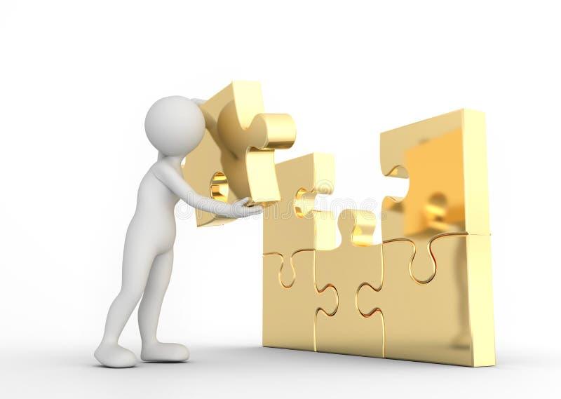 De mens van Toon voltooit gouden raadselfiguurzaag Concept Bedrijfsoplossing vector illustratie