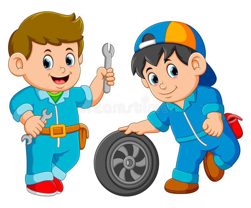 De mens van de twee autodienst dragen eenvormig met autowiel stock illustratie