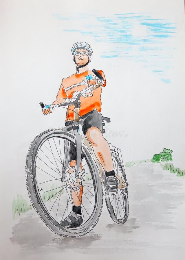De mens van Yong met fiets - getrokken grafische en waterverf artistieke illustratie royalty-vrije illustratie