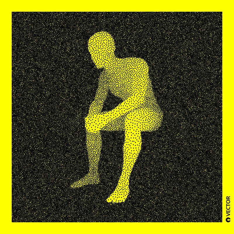 De mens van de zitting 3D Menselijk Lichaamsmodel Zwart en geel korrelig ontwerp Gestippelde vectorillustratie vector illustratie