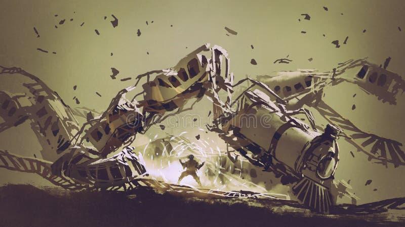 De mens vernietigt de trein vector illustratie