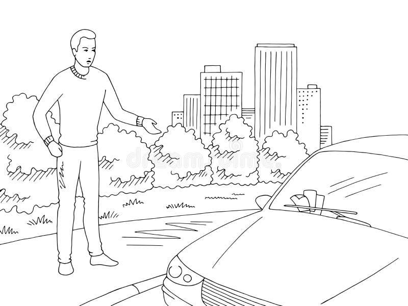 De mens is verontrust bekijkend de boetes op de de illustratievector van de auto grafische zwarte witte schets stock illustratie