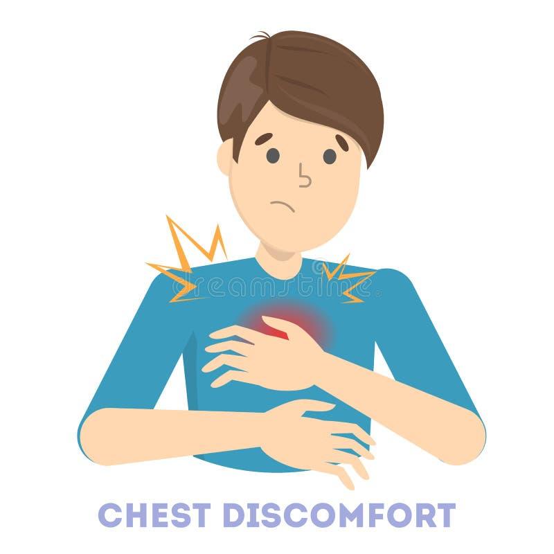 De mens voelt het borstongemak De mens houdt voor hart stock illustratie