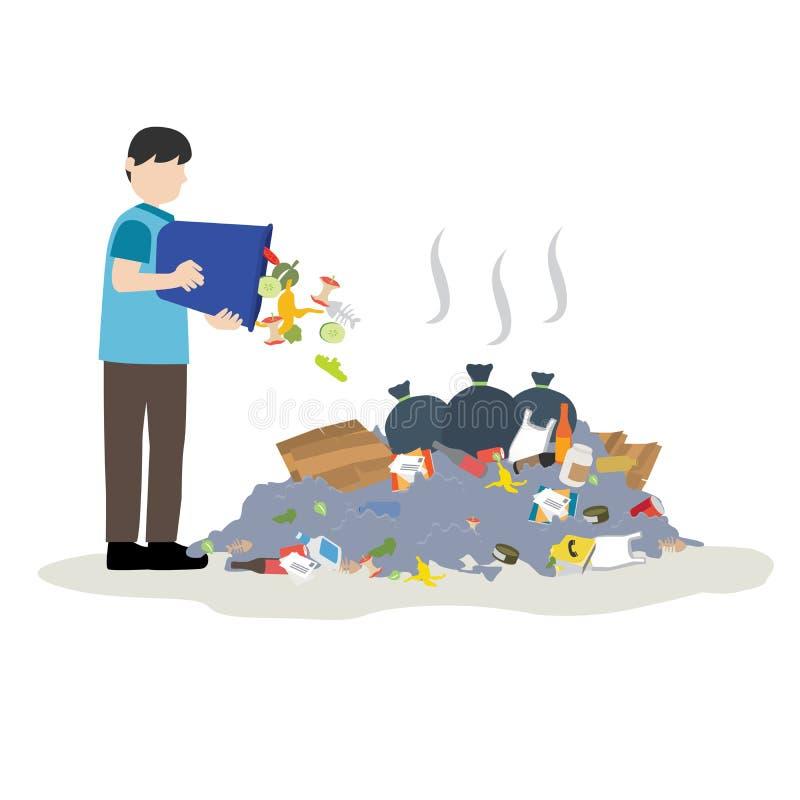 De mens werpt afval in stapel van huisvuil royalty-vrije illustratie