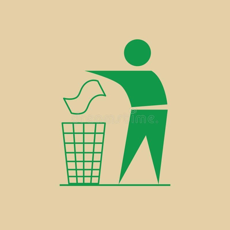 De mens werpt Vuilnis in Bak Kringloopgebruik Logo Web Icon royalty-vrije illustratie