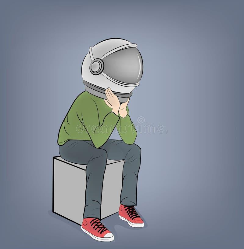 De mens zit in de helm van de astronaut Vector illustratie stock illustratie