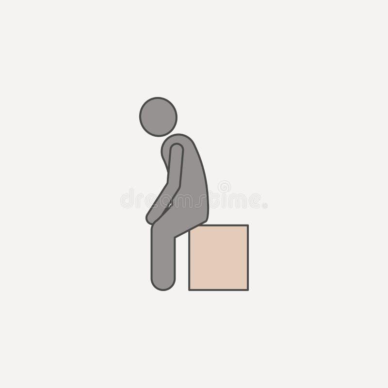 de mens zit op doos 2 rassenbarrièrepictogram Eenvoudige kleurenelementillustratie de mens zit op het symboolontwerp van het doos royalty-vrije illustratie