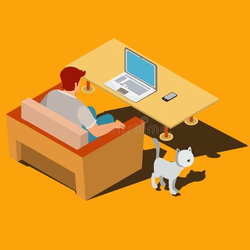 De mens zit op de leunstoel en bekijkt laptop monitor isometrische vector stock illustratie