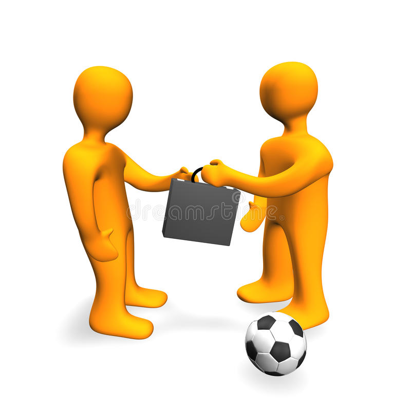 De menselijke 3D Voetbal van de Overeenkomst van de Steekpenning royalty-vrije illustratie