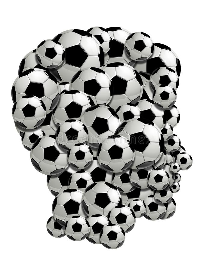 De menselijke artistieke die samenstelling van het profielgezicht van voetbal van voetbalbal wordt gemaakt op wit wordt geïsoleer royalty-vrije stock afbeelding