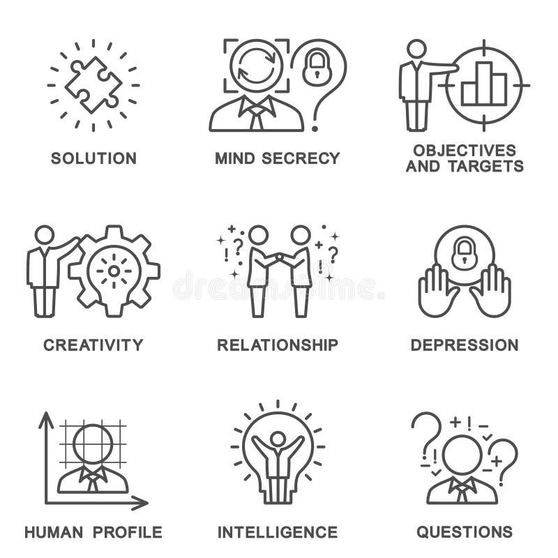 De menselijke de persoonlijkheidspsychologie van inzamelingspictogrammen royalty-vrije stock afbeeldingen