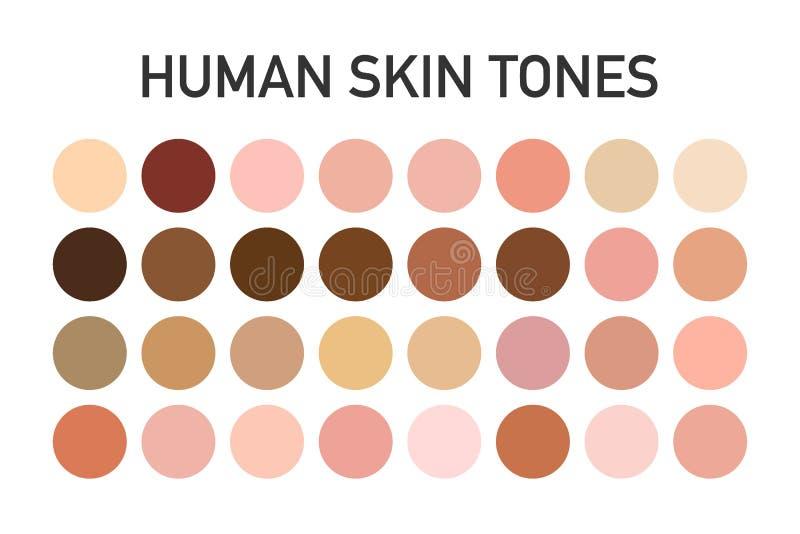 De menselijke die reeks van het de kleurenpalet van de huidtoon op transparante achtergrond wordt geïsoleerd Het ontwerp van de k royalty-vrije stock afbeeldingen