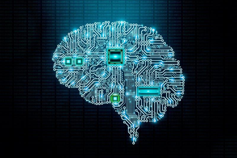 De menselijke elektronische hersenen drukten kringsraad of PCB-ontwerp met componenten en cpu op binaire codeachtergrond Transhum vector illustratie