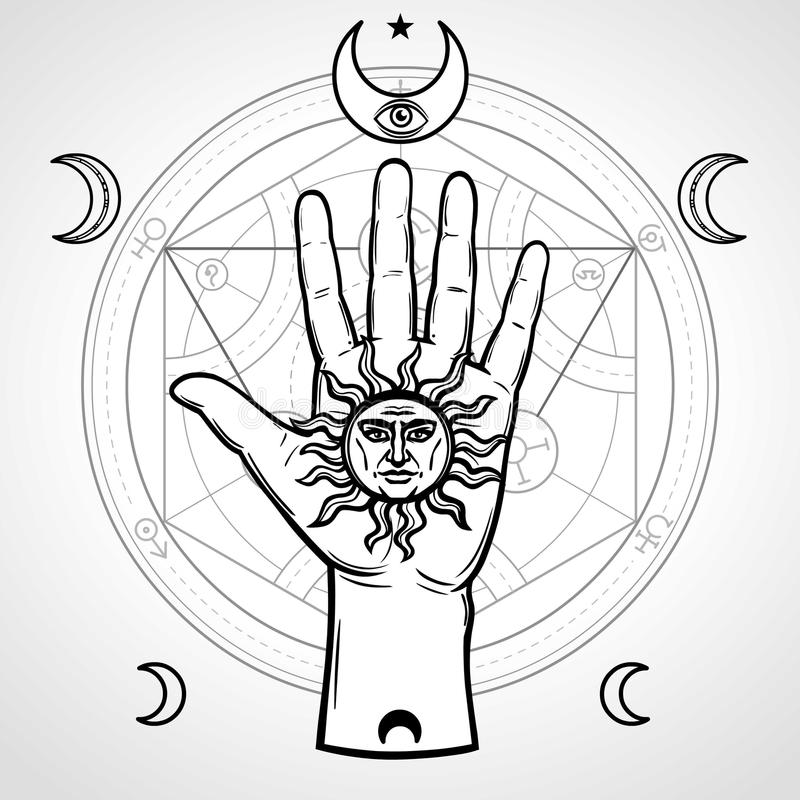 De menselijke hand houdt een middeleeuws symbool van de zon royalty-vrije illustratie