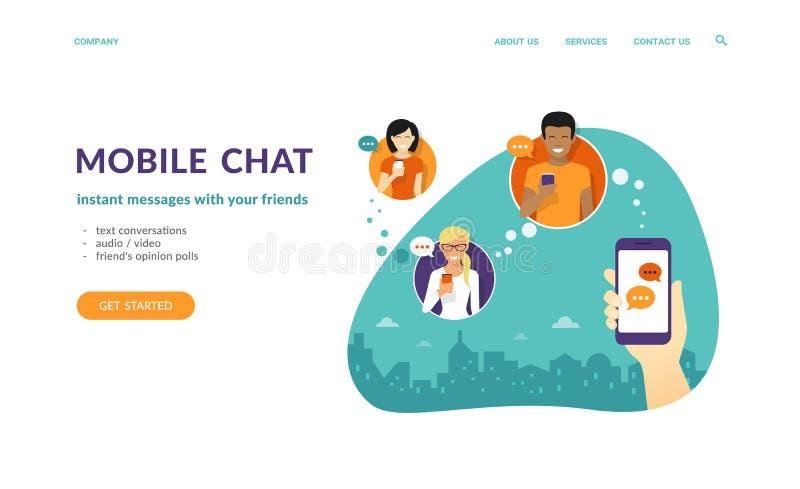 De menselijke hand houdt een smartphone en het verzenden van berichten naar vrienden via mobiele boodschapper app royalty-vrije illustratie