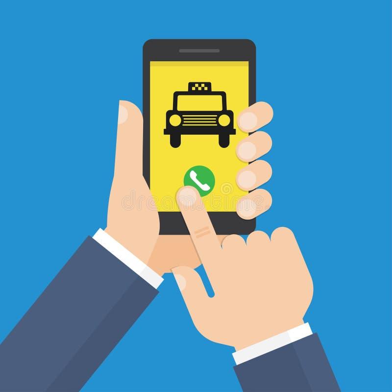 De menselijke hand houdt smartphone met de mobiele app Taxidienst stock illustratie