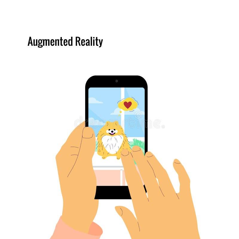 De menselijke hand houdt smartphone met vergrote werkelijkheid app op het scherm die hologram van een hond tonen vector illustratie