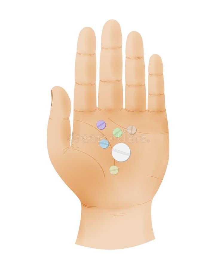 De menselijke hand toont vijf vingers en palm met pillen royalty-vrije stock afbeeldingen