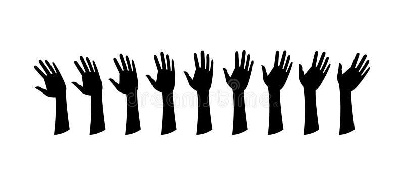 De menselijke handen, golven de hand royalty-vrije illustratie