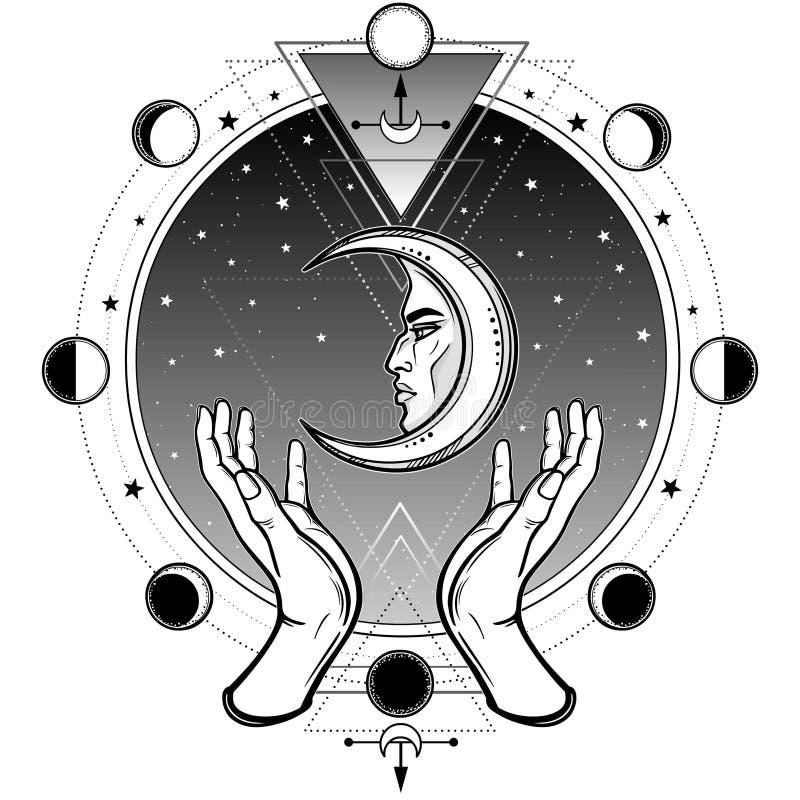 De menselijke handen houden een symbool van de maan Achtergrond - een cirkel van de hemel van de nachtster, een fase van de maan royalty-vrije illustratie