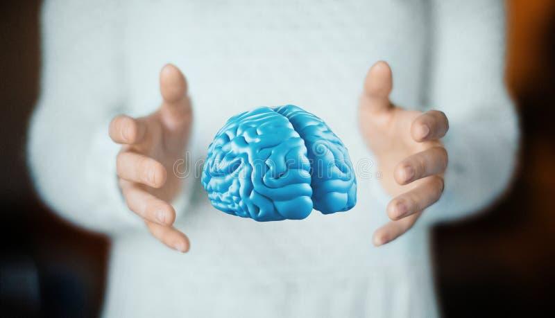 De menselijke hersenen op hand, denken, tumor, ideeën royalty-vrije stock afbeelding