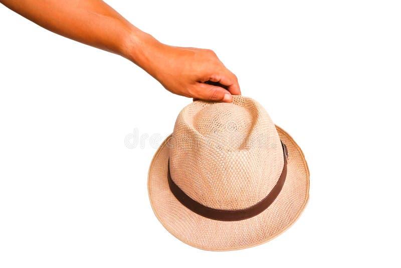 De menselijke hoed van de handholding royalty-vrije stock foto
