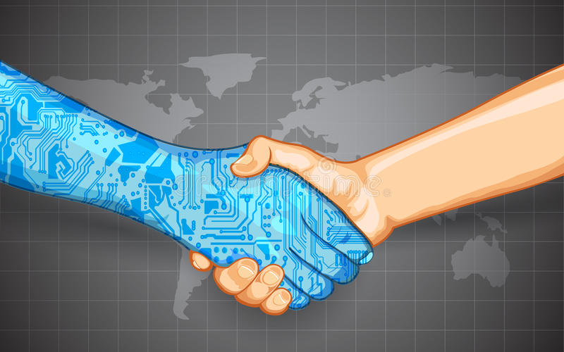 De menselijke Interactie van de Technologie royalty-vrije illustratie