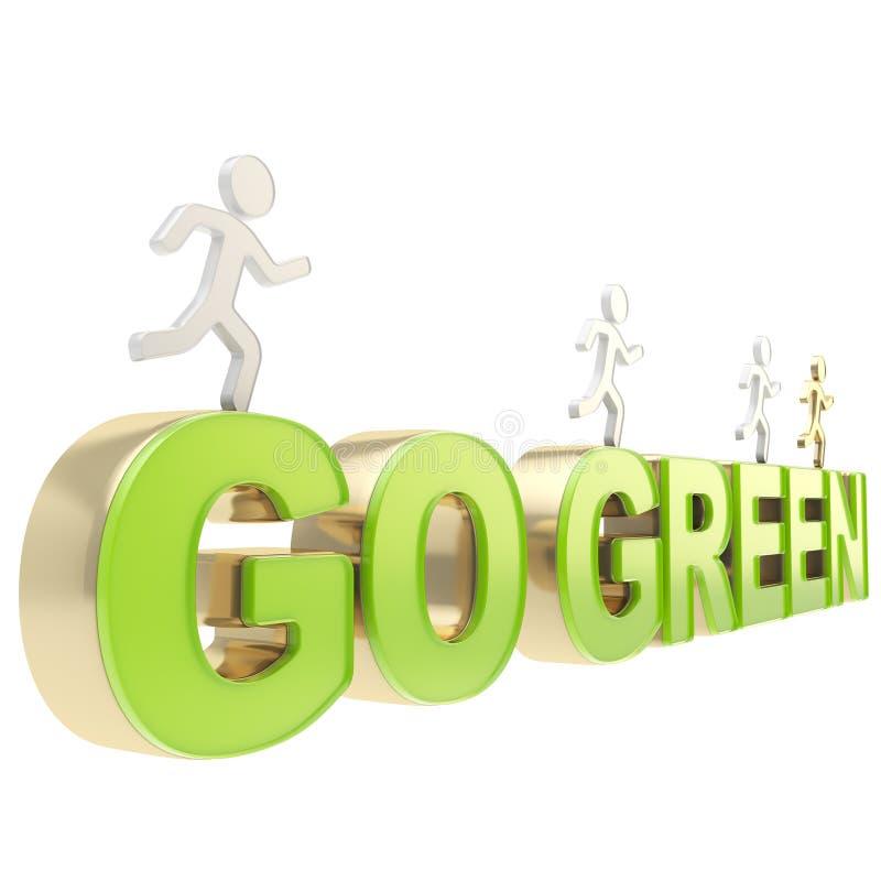 De menselijke lopende cijfers over de woorden gaan groen stock illustratie
