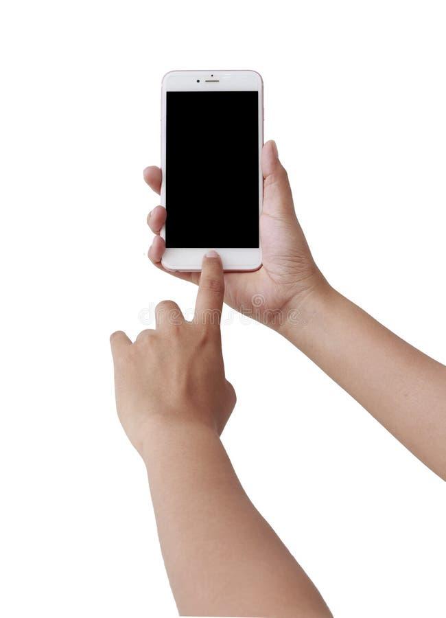De menselijke mobiele telefoon van het handgebruik stock foto's