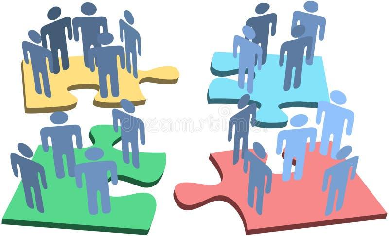 De menselijke oplossing van het raadselstukken van groepsmensen stock illustratie