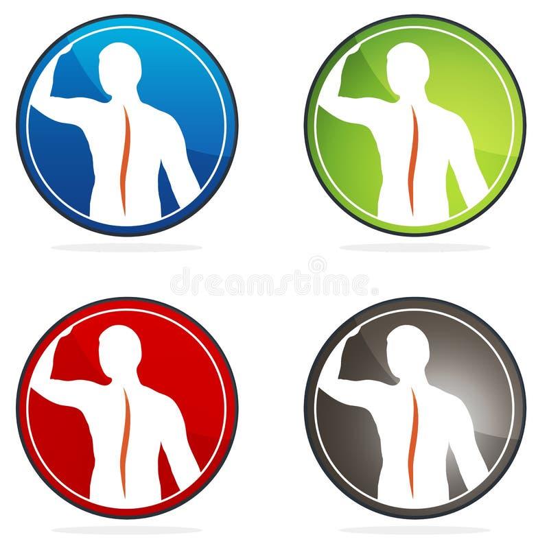 De menselijke pictogrammen van de ruggegraatgezondheid vector illustratie