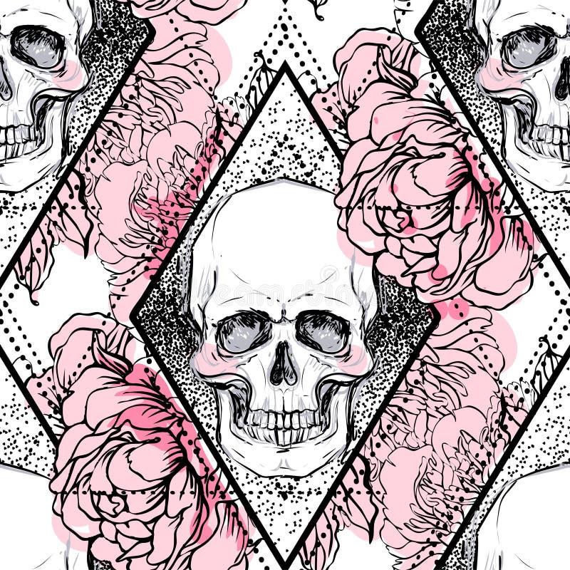 De menselijke schedel met pioen, namen en de papaverbloemen over heilige geome toe vector illustratie