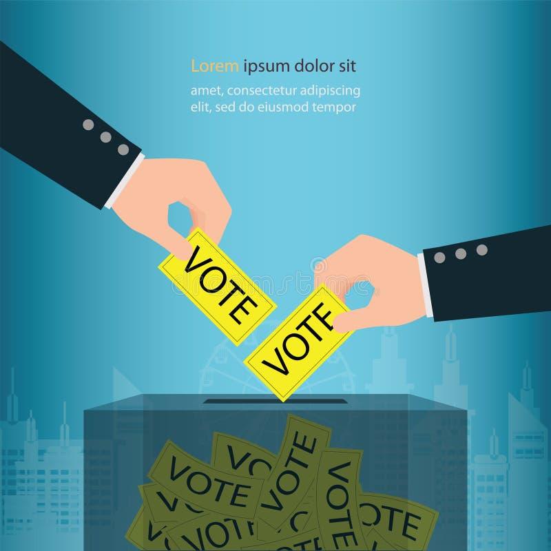 De menselijke stemming van de de verkiezingsstem van de handholding in stembussen stock illustratie