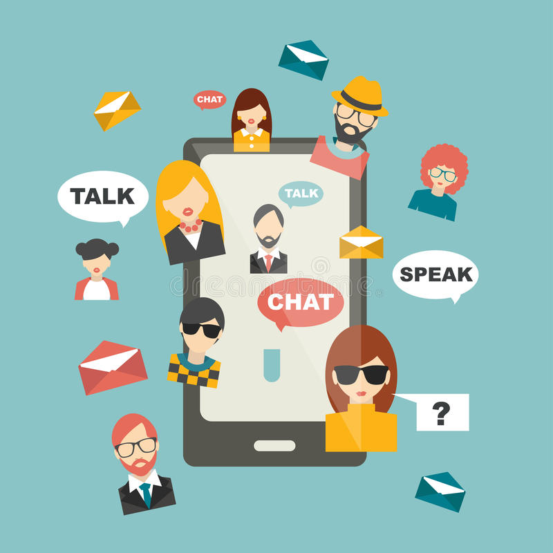 De mensen babbelen globale mededeling vector illustratie