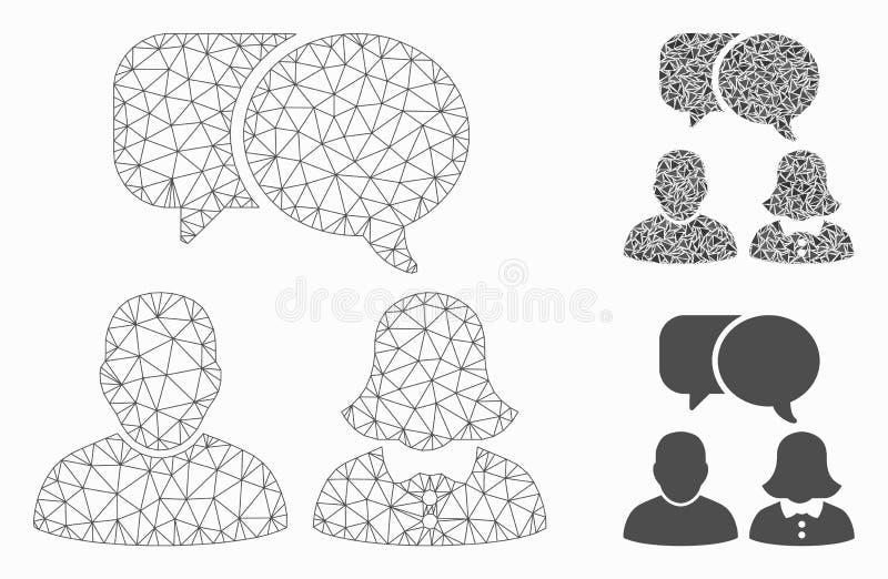 De mensen babbelen Vector het Mozaïekpictogram van Mesh Wire Frame Model en van de Driehoek royalty-vrije illustratie