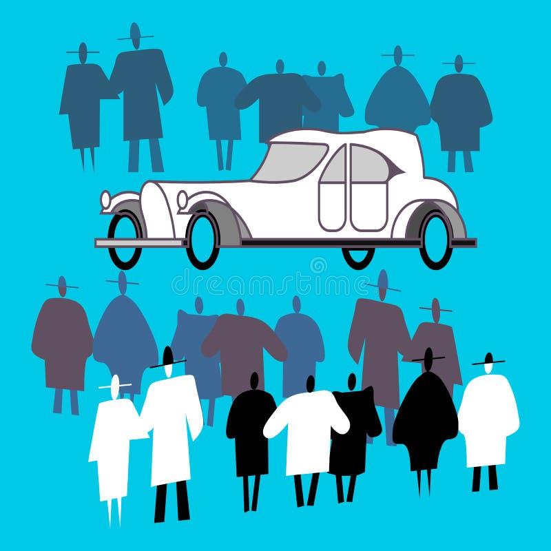De mensen bekijken een retro auto en een menigte rond het royalty-vrije illustratie