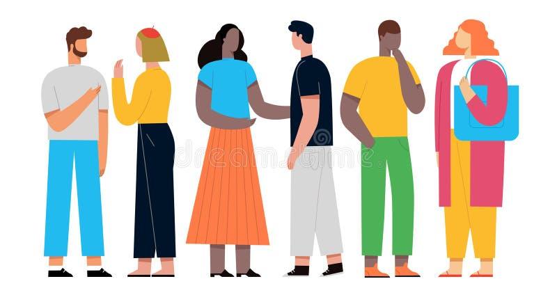De mensen bespreken sociaal netwerk Vectorillustratie Vlakke Stijl stock illustratie
