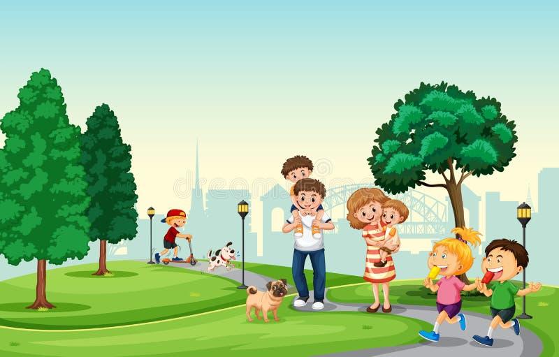 De mensen besteden vakantie in het park vector illustratie