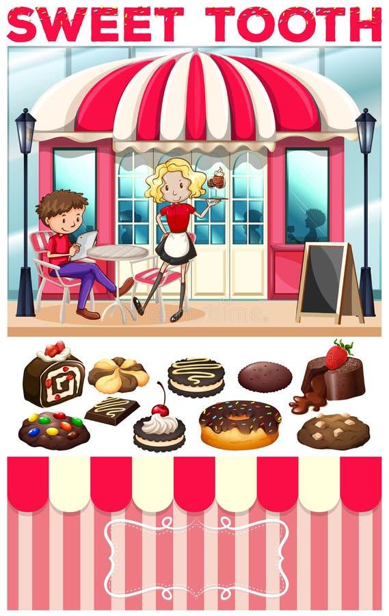 De mensen bij de bakkerij winkelen royalty-vrije illustratie