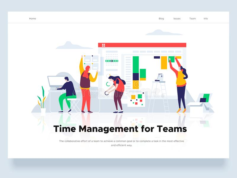 De mensen bouwen een dashboard en gaan met grafieken interactie aan Tijdbeheer en bureausituaties Landend Paginamalplaatje Vector royalty-vrije illustratie