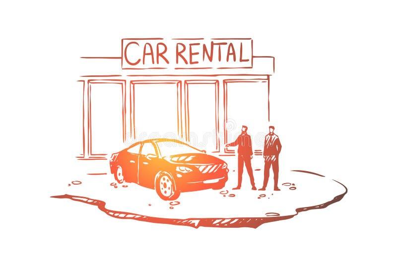 De mensen buiten het handel drijven centreren, klant en verkoper, handelaar, luxe autowinkel, voertuigtoonzaal vector illustratie