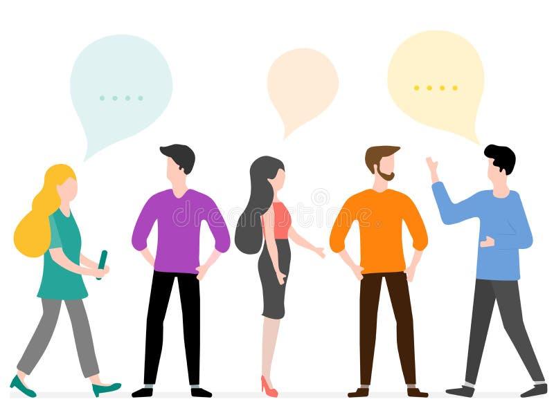 De mensen communiceren Sociaal netwerk Groepspraatje vector illustratie