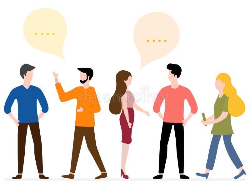 De mensen communiceren Sociaal netwerk Groepspraatje stock illustratie