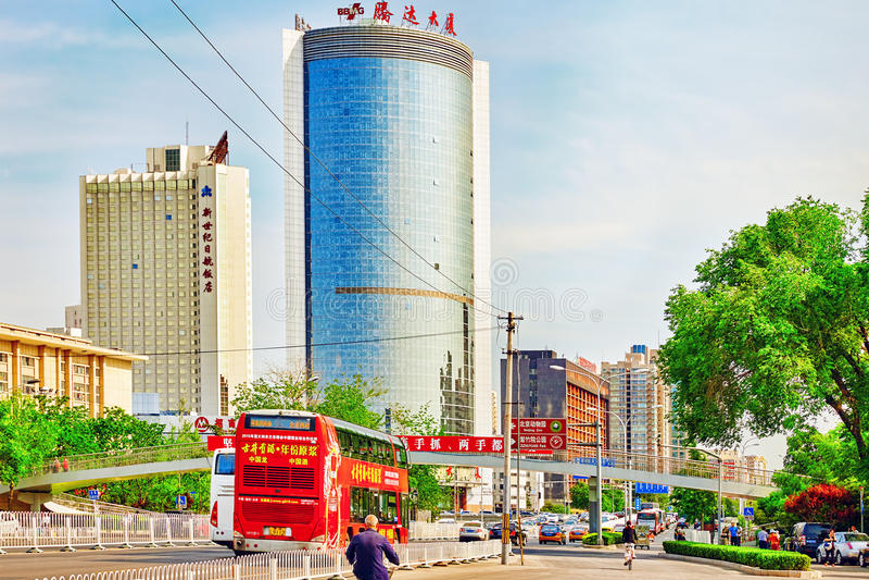 De mensen, de burgers van Peking, straten stock foto's