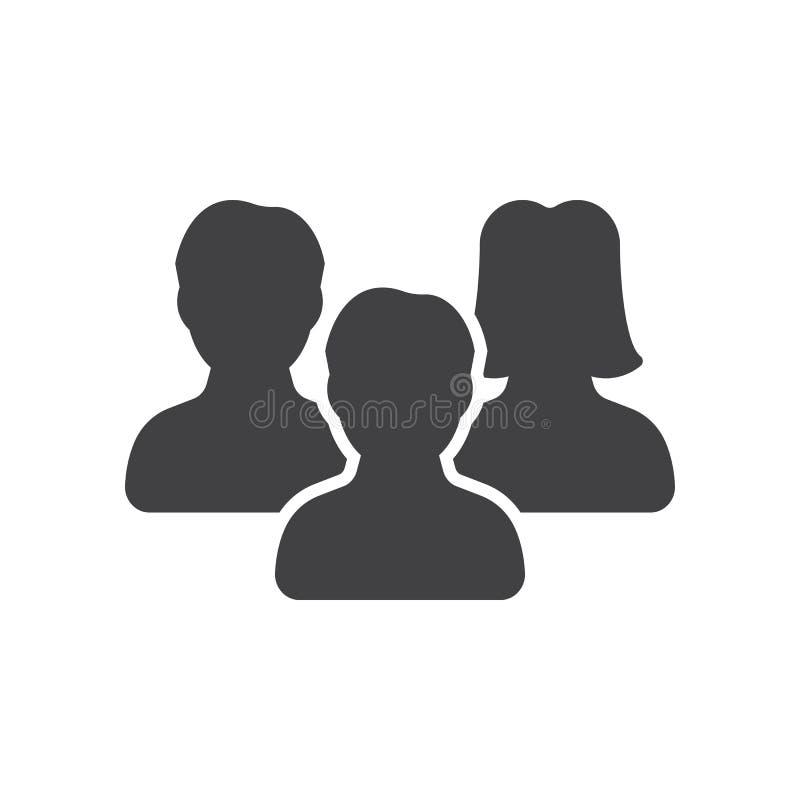 De mensen, de vector van het teampictogram, vulden vlak teken royalty-vrije illustratie